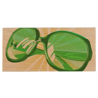 Sunburst Green Eyeglasses - USB Thumb Drive Wood USB 2.0 Flash Drive