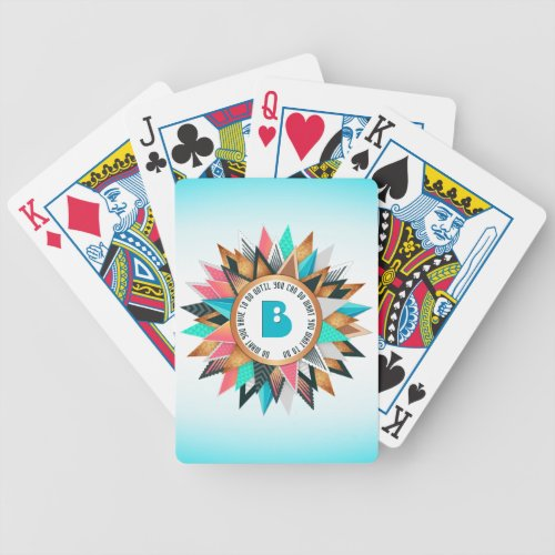 Sunburst Monogram Trendy Geometric Triangles Bicycle Playing Cards