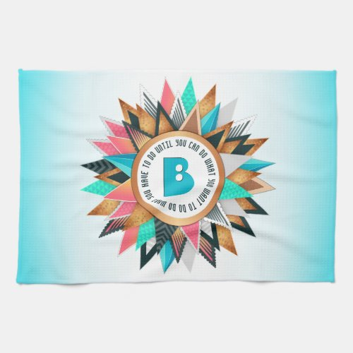 Sunburst Monogram Trendy Geometric Triangles Hand Towel