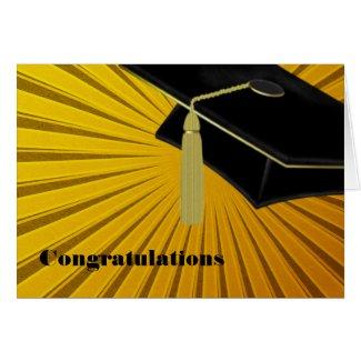 Sunburst & Mortarboard Graduation Card