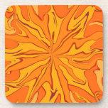 sunburst orange art coaster