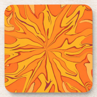 sunburst orange art coaster