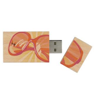 Sunburst & Orange Pink Eyeglasses -USB Thumb Drive Wood USB 2.0 Flash Drive