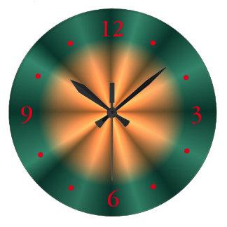 Sunburst Orange Yellow Green Design> Wall Clock