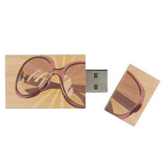 Sunburst & Pink Eyeglasses - USB Thumb Drive Wood USB 2.0 Flash Drive