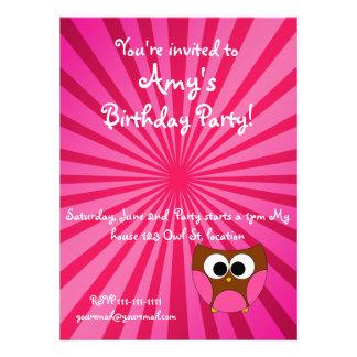 Sunburst pink owl invitation
