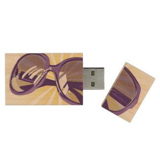 Sunburst & Purple Eyeglasses - USB Thumb Drive Wood USB 2.0 Flash Drive