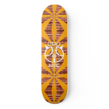 Sunburst Stripe Orange Pixipig Skateboard 3