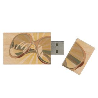 Sunburst & Tan Eyeglasses - USB Thumb Drive Wood USB 2.0 Flash Drive