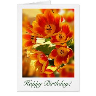 sunburst Tulip Birthday wishes Greeting Card