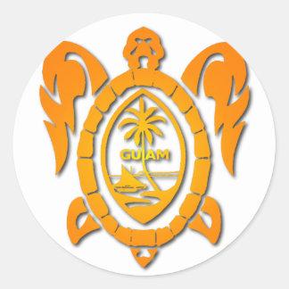 sunburst turtle round sticker