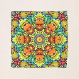 Sunburst Vintage Kaleidoscope  Chiffon Scarf