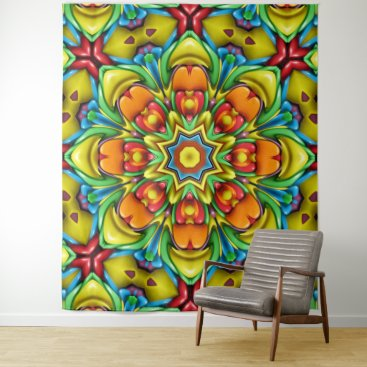 Hawaiian Themed Sunburst Vintage Kaleidoscope Wall Tapestry