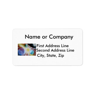 Sunburst with planets spray paint spraypainting personalized address label