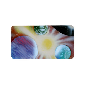 Sunburst with planets spray paint spraypainting personalized address labels