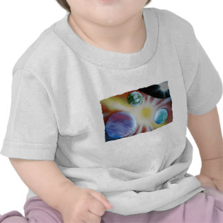 Sunburst with planets spray paint spraypainting tees