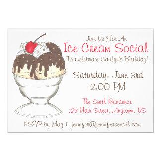 Sundae Ice Cream Social Birthday Party Invitations