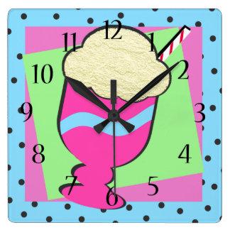 Sundae Shoppe Ice Cream Float Square Wallclocks