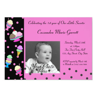 Sundae Shoppe/ Photo Birthday 5x7 Paper Invitation Card