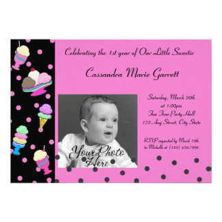 Sundae Shoppe/ Photo Birthday Invite
