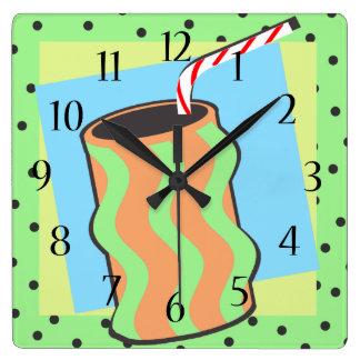 Sundae Shoppe Soda with Straw Square Wall Clocks