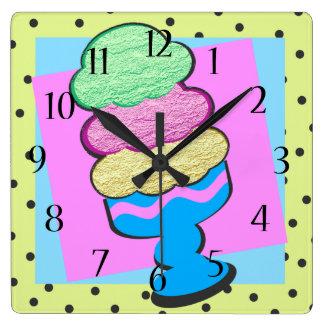 Sundae Shoppe Triple Decker Ice Cream Square Wall Clock