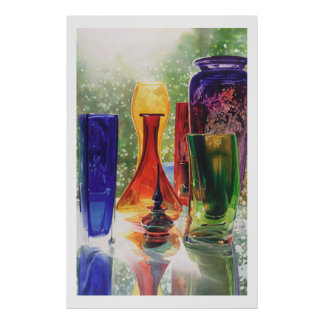 """Sundance"" Art Glass Watercolor Painting Poster"