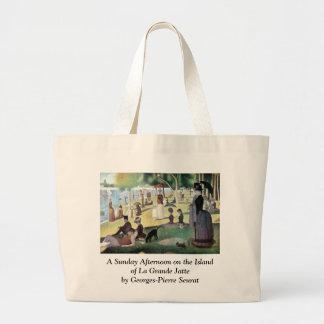 Sunday Afternoon, Island La Grande Jatte by Seurat Large Tote Bag
