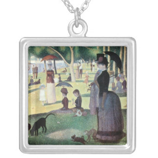 Sunday Afternoon, Island La Grande Jatte by Seurat Silver Plated Necklace