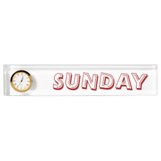 Sunday Alphabet Soup Font Desk Clock by Janz Desk Name Plate