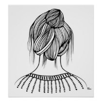 artsprojekt, sunday, hairstyle, fashion, hair, saloon, girl, woman, female, teen, beauty, design, black, white, illustration, morning, home, minimalism, minimalist, young, women, naive, Cartaz/impressão com design gráfico personalizado
