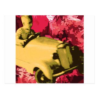 Sunday driver boy postcard