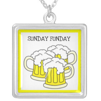 """""""SUNDAY FUN DAY"""" BEER MUGS PRINT SILVER PLATED NECKLACE"""