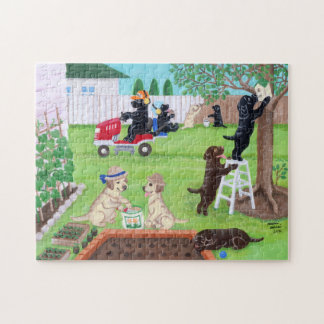 Sunday Fun Labradors Painting Jigsaw Puzzle