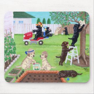 Sunday Fun Labradors Painting Mouse Pad