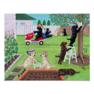 Sunday Fun Labradors Painting Posters