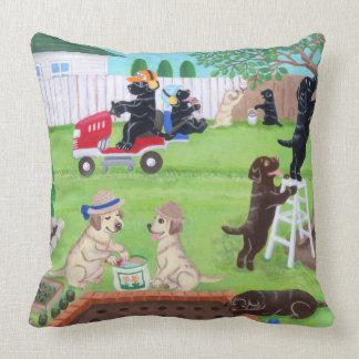Sunday Fun Labradors Painting Throw Pillow