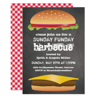Sunday Funday Chalkboard Barbecue Party Card