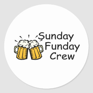 Sunday Funday Crew (Beer) Classic Round Sticker