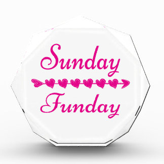 Sunday Funday Cute Funny Pink Heart Award