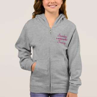 Sunday Funday Cute Funny Pink Heart Hoodie