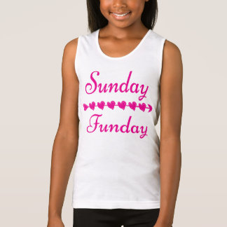 Sunday Funday Cute Funny Pink Heart Tank Top