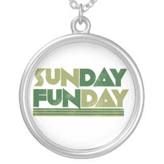Sunday Funday Round Pendant Necklace