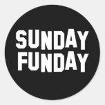 Sunday Funday Round Stickers
