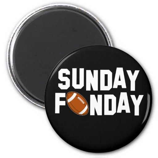 Sunday Funday with football 2 Inch Round Magnet