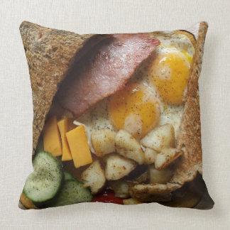 Sunday Morning Ham and Eggs Pop Art Throw Pillow