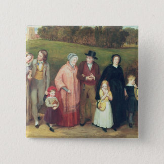 Sunday Morning - The Walk from Church, 1846 Pinback Button