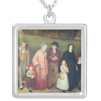 Sunday Morning - The Walk from Church, 1846 Silver Plated Necklace