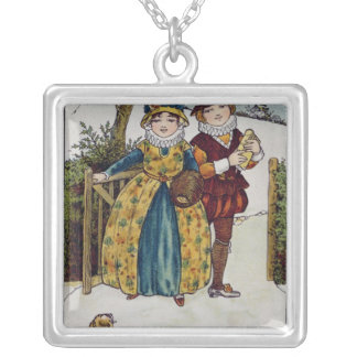 Sunday Morning, Victorian card Silver Plated Necklace