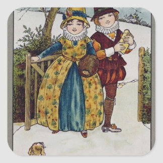 Sunday Morning, Victorian card Square Stickers